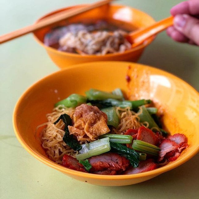 The main draw for a bowl of Tanjong Rhu Wanton mee is it's thin, springy noodles tossed even with seasoning and chilli.