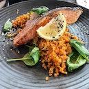[#jbeats] Pan Fried Salmon w Kimchi Cauliflower rice (RM34.90).