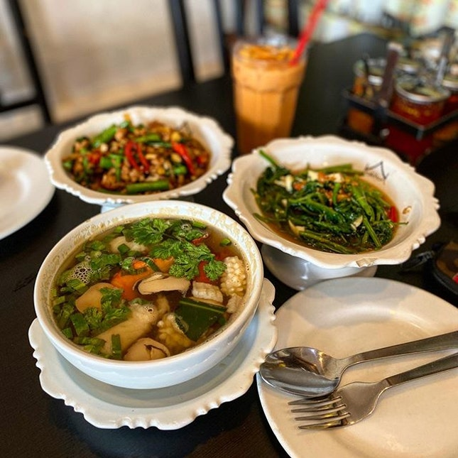 Just my usual Thai food order: Tom Yum seafood soup with fried kangkong and Thai basil pork, washed down with Thai milk tea.