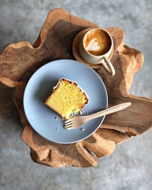 Lemon Glazed Butter Cake & Flat White