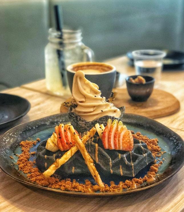 Charcoal Mochi Waffle ($12.5)