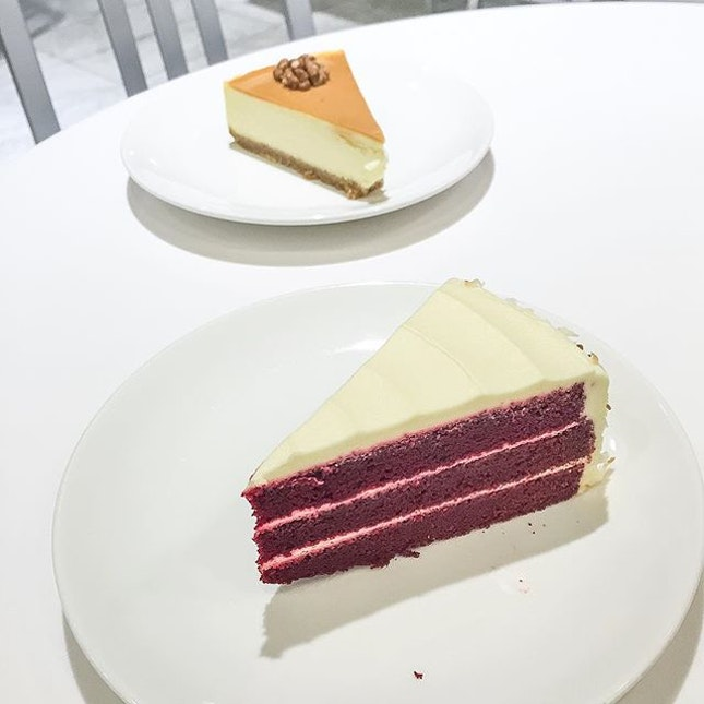 Red Velvet Cake ($9) and Caramel Cheesecake ($9).