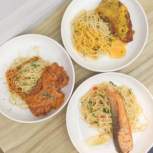 Three of the new pasta dishes available at Griddy Gourmet Waffles.