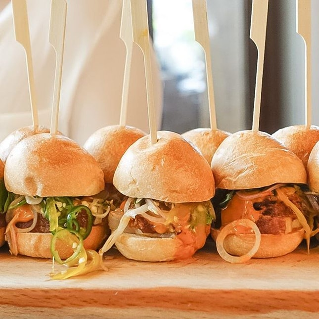 Pork belly sliders with BBQ pulled pork, pickled cucumber and chilli ($13).