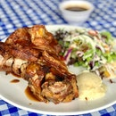 Pork Knuckle (Swipe for more) Beer braised Crispy pork knuckle with salad and mash with beer sauce!