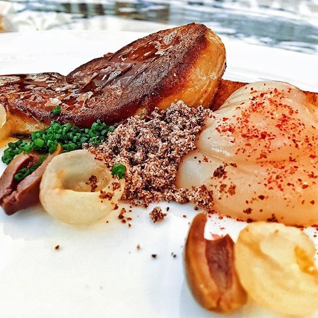 Foie gras and lychee, go together like fish and the sea.