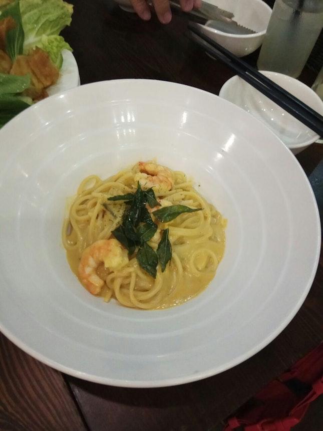 Salted Egg Prawn Pasta