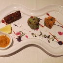 Tandoori Salmon, Chutney Chicken, Awadi Lamb Seekh Kebab (starter, Gastromonth Menu)