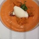 Salmorejo Soup, Burrata, Jamon Iberico Ice Cream 17++