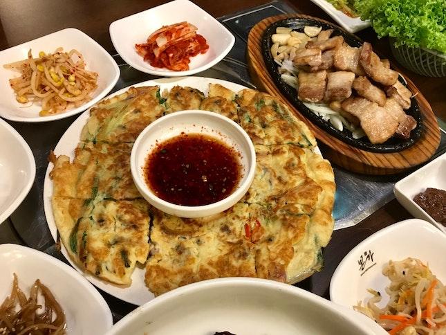 Seafood Pancake (RM32), Pork Belly BBQ (RM34)