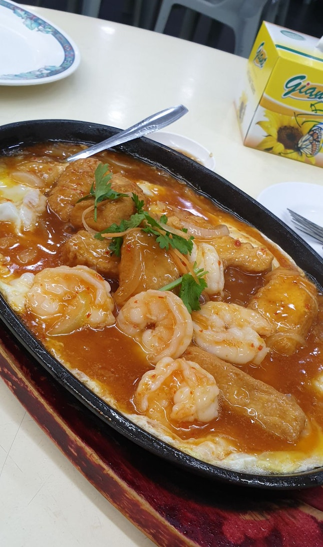 Hotplate Tofu with Prawn