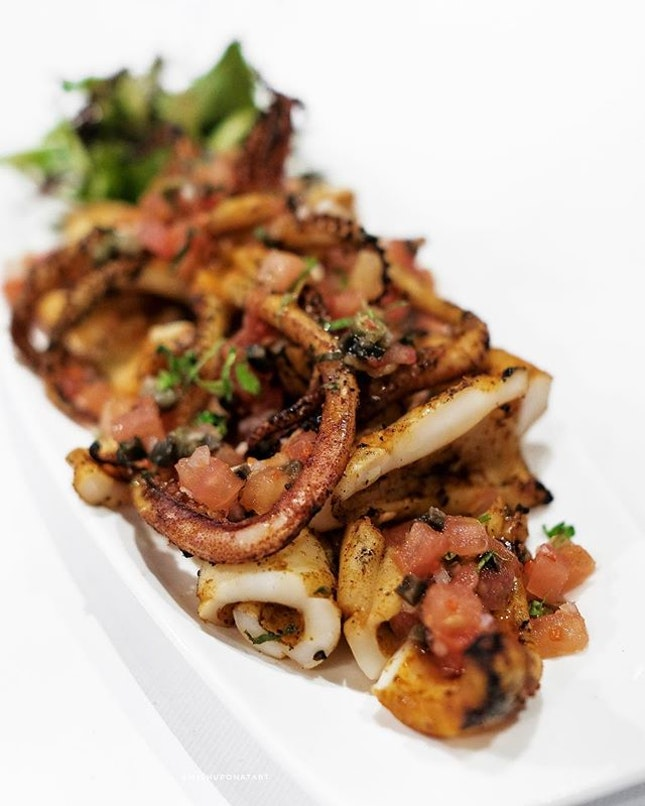 Grilled Calamari, grilled to a smoky flavour with a nice bite.