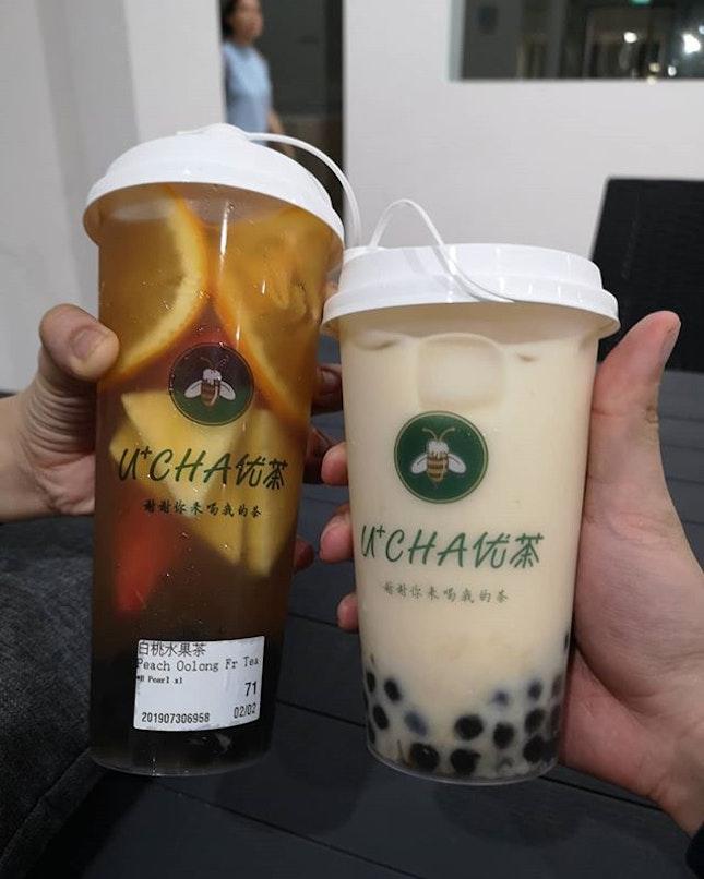 Peach Oolong Fruit Tea and Jasmine Fresh Milk Tea ($4.60 & 4.30 respectively 1 for 1 with #burpplebeyond).