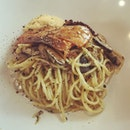 Salmon teriyaki with mushroom spaghetti at pasta and grains at food junction foodcourt.