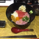 Special don, with maguro, negotoro, uni, ikura and squid. Inclusive of dashi soup. $18
