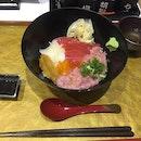 Special don, with maguro, negotoro, uni, ikura and squid. Inclusive of dashi soup. $18