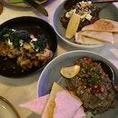 Cauliflower & Artichoke ($16), Black Bean Hummus ($12) & Imam Biyaldi ($12)