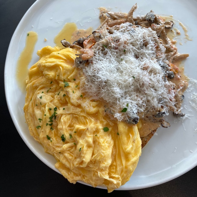 Creamy Mushrooms On Sourdough + Scrambled Eggs ($17)