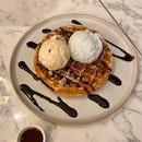 Oolong Osmanthus & Blue Pea Lemongrass Gelato On Waffle