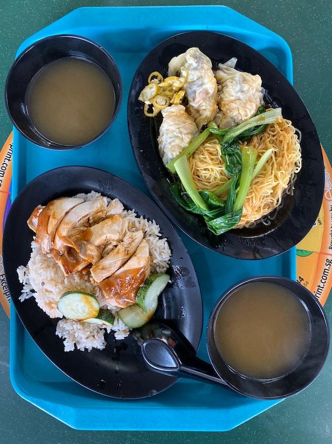 Soya Sauce Chicken Rice ($3), 水饺面 ($4.30)