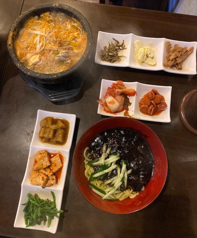 Jajangmyeon ($13), Bean Paste Stew (came w Pork Set), Banchan