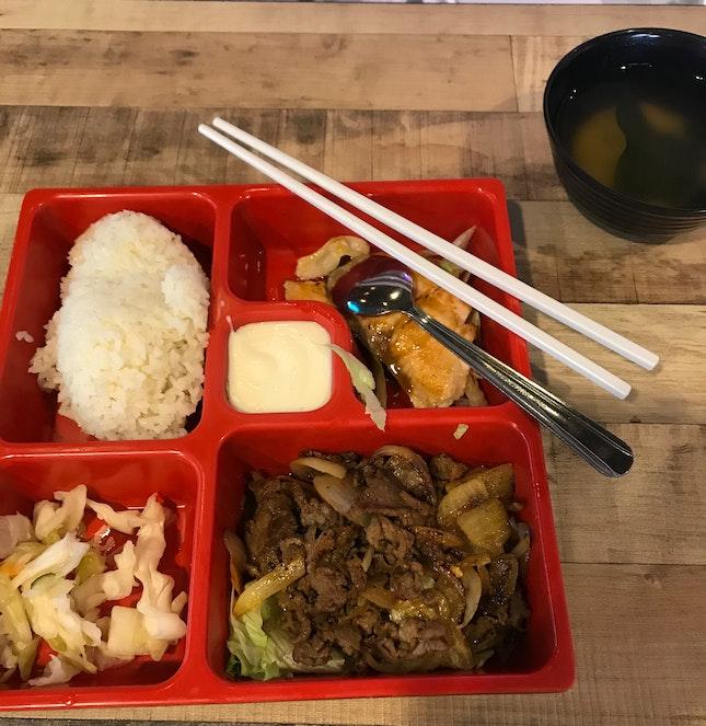 Japanese Beef/salmon Bento Set