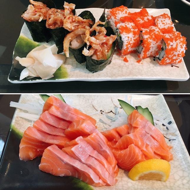 1. Chuka Hotate & California Maki. 2. Salmon Sashimi