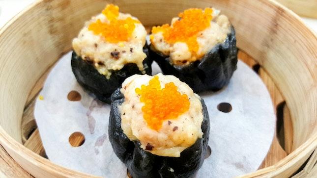 Steamed Charcoal Chicken & Shrimp Dumpling ($4)