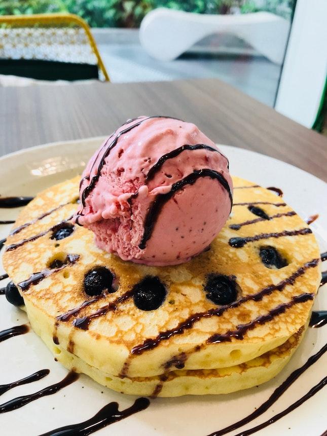 Blueberry Pancakes With Wild Strawberry Ice Cream