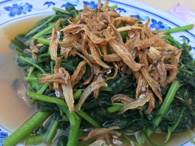 Spinach With Ikan Billis