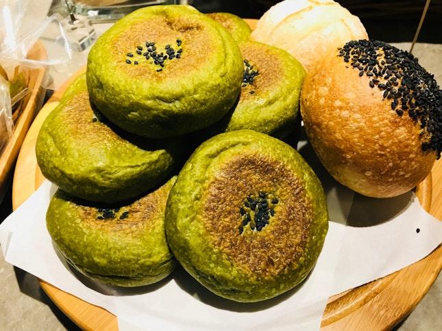 Sourdough Matcha Redbean Bread