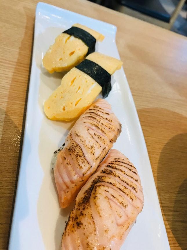 Tamago And Salmon Aburi Sushi