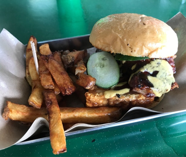 Crispy Pork Belly Burger + Fairy Fries