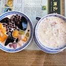 Taro Ball w/ Grass Jelly & Mango • Peach Gum w/ Milk & White Fungus