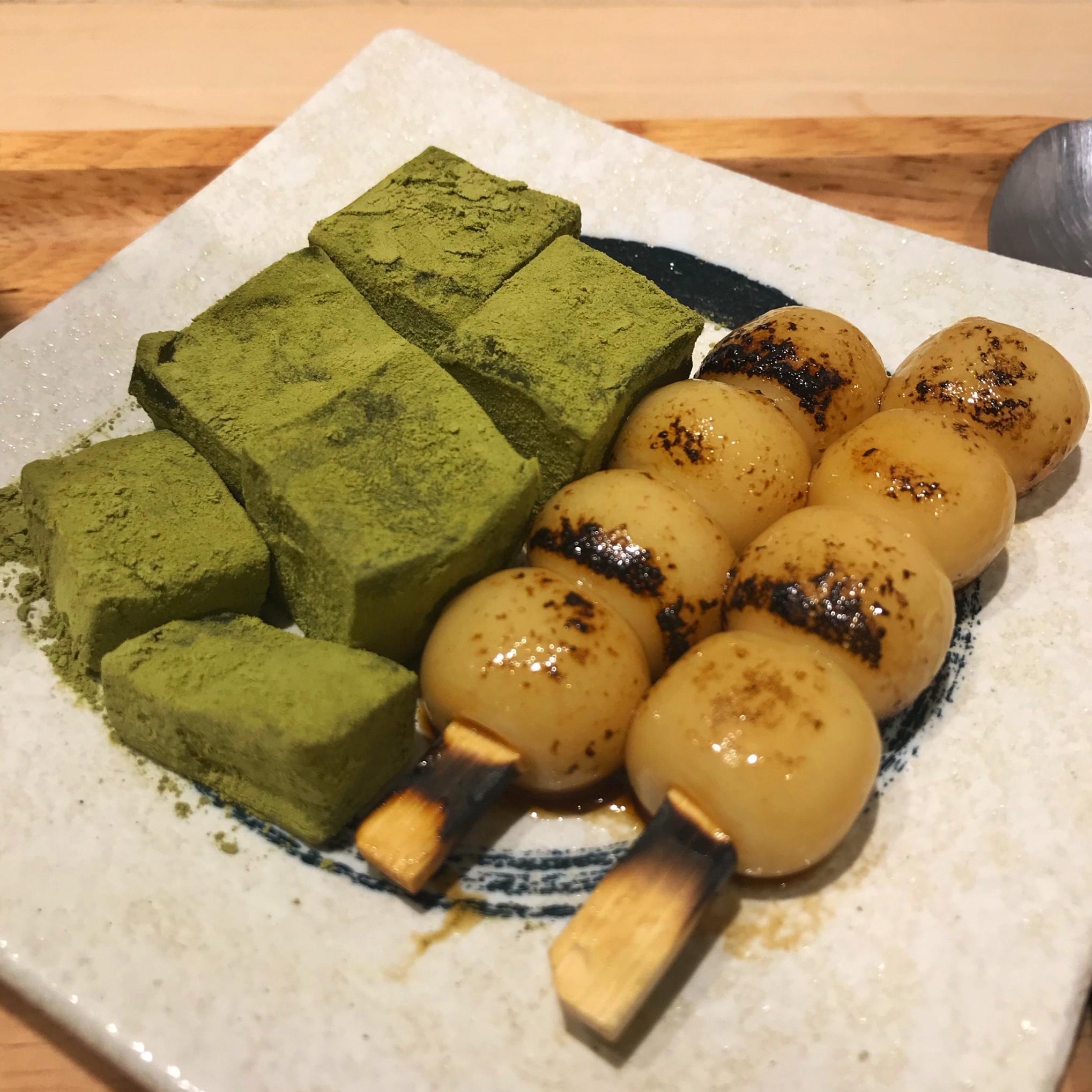 Aburi shiratama and genmaicha warabi mochi