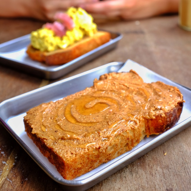 Nut butter, honey and sea salt toast