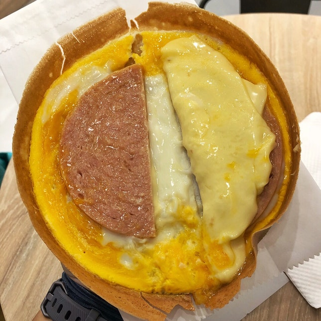 Luncheon meat, egg and cheese pancake