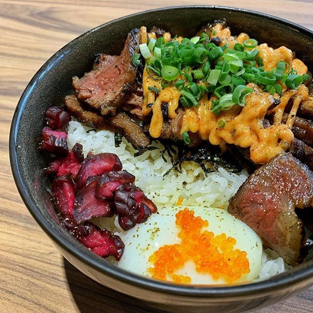 Spicy mentaiko wagyu don