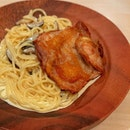 Chicken Chop Pasta In Cream Sauce