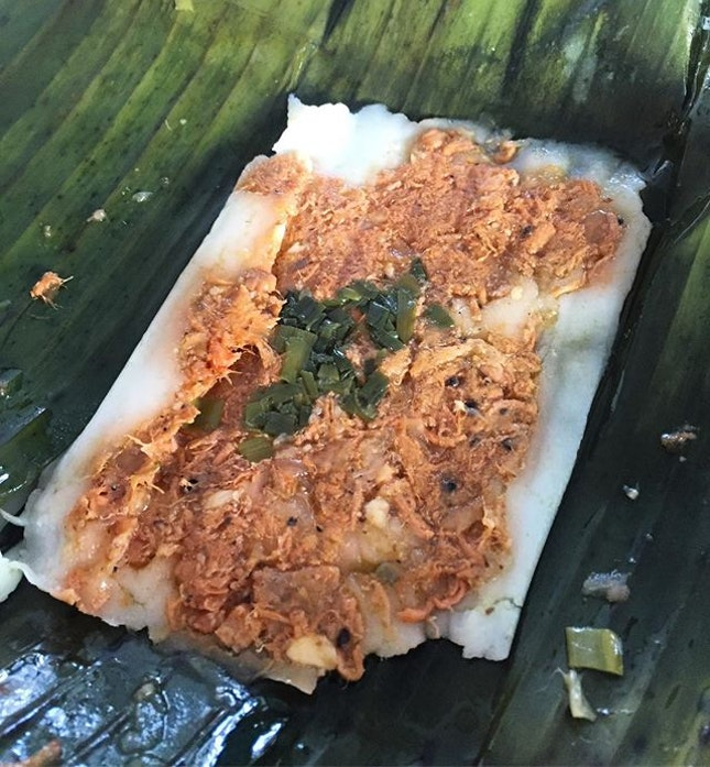 This rice cake was steamed with shrimp and pork, all wrapped up in banana leaves.