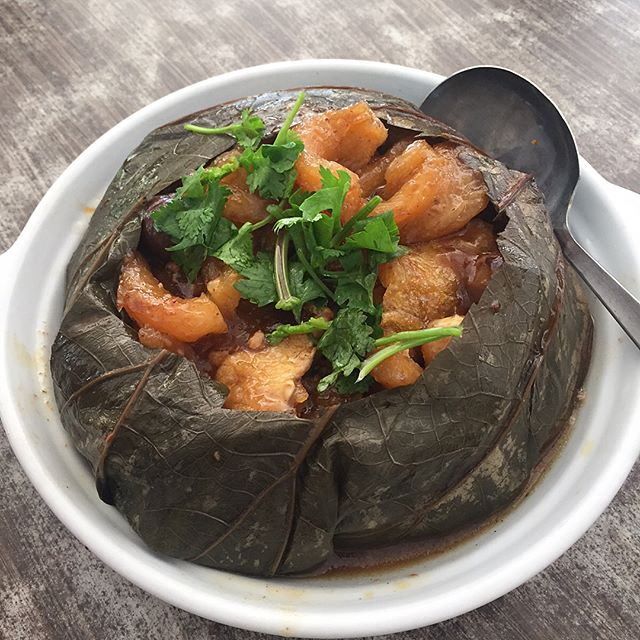 Wrapped beautifully to almost resemble a lotus flower, once you open this parcel of lotus leaves, you will find fish maw, chinese mushrooms and pork ribs.