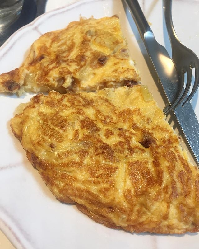 Chorizo and potato omelette.