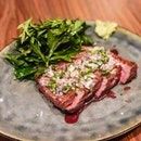 Flank MB4 with a smoked beef vinaigrette.