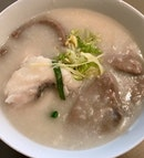 生滾青衣魚腩豬潤肉丸粥  $17.80
