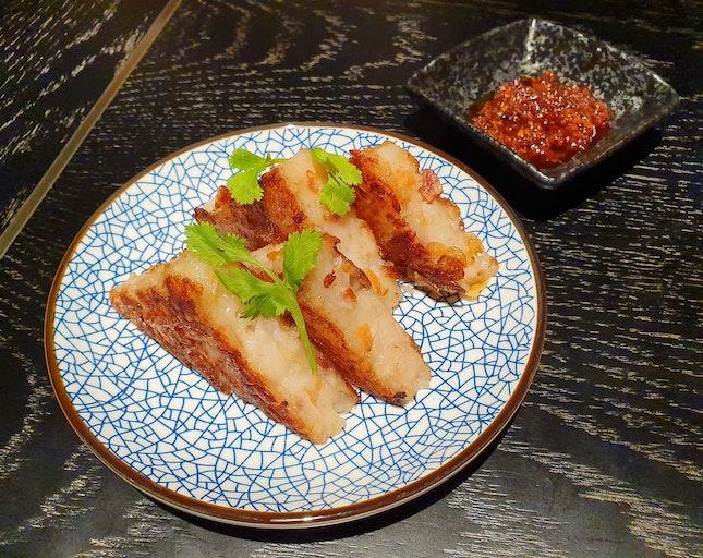 櫻花蝦香煎瑤柱東莞臘腸蘿卜糕  $12