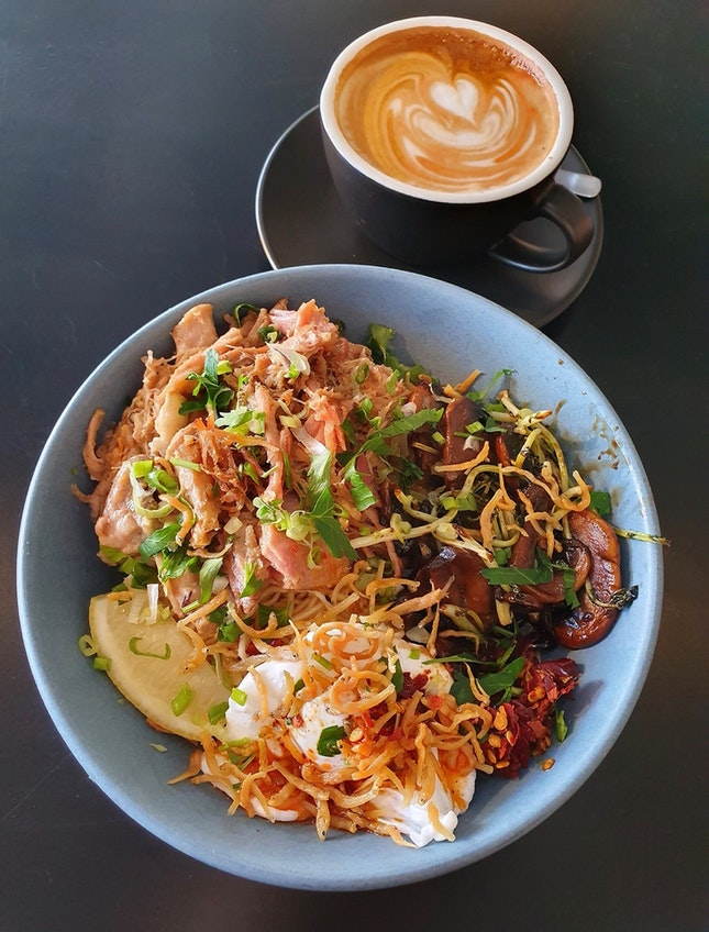 Roasted Pork Noodles $18 | Flat White $6