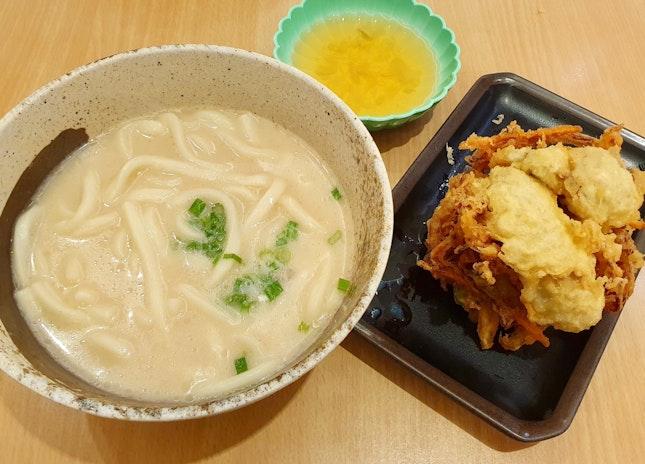 広島産牡蠣と野菜のかき揚げ豚骨うどん  $13.20