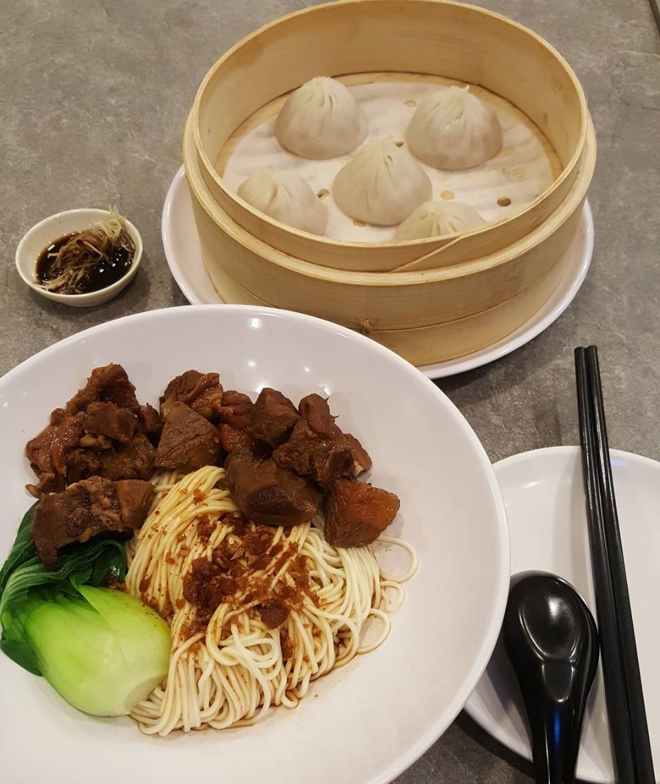 Signature Noodles with Beef Brisket ($11.80) and 5pcs Pork Xiao Long Bao ($6)