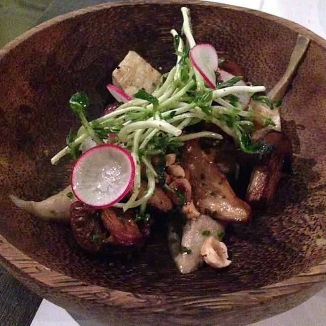 Roasted Button Mushrooms, Shimeji, King Oyster, Aubergine Purée, Toasted Hazelnuts.