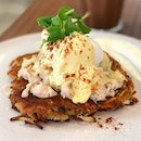 Chicken rosti ($16.50)  Rosti with dry cured slow cooked chicken breast, cheese, poached egg, and hollandaise sauce.